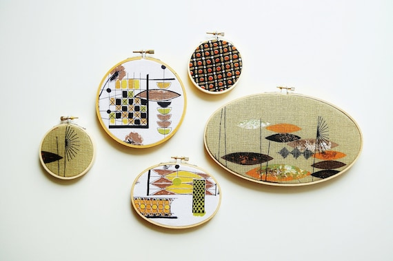 Mid-Century Fabric Hoop Decor - Autumn Colors
