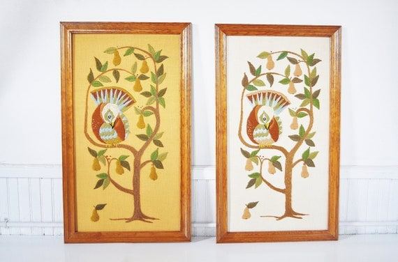 Partridge in a Pear Tree Crewel Wall Hanging