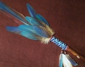Smudge Fan- Conscious Spirit- Sacred Prayer Fan with Blue Kyanite Crystal