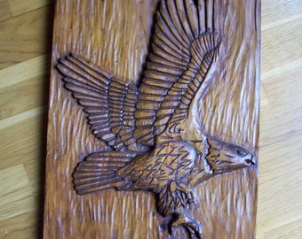Wooden carved picture Eagle handcarved wall hanging rustic western masculine rugged