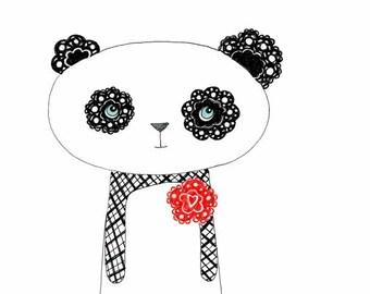 Kids Wall Art, Kids Art,  Panda Print - Georigie the Panda - Limited Edition 8x10 Print by Jennie Deane