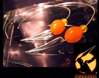 WARRIOR  Spear STERLING EARRINGS on Wire with Tangerine Glass Beads
