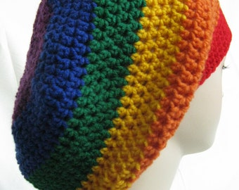 Blue Purple Red Orange Yellow Green Rainbow multi  Tam hippie Hat Slouchy rasta soft-acrylic