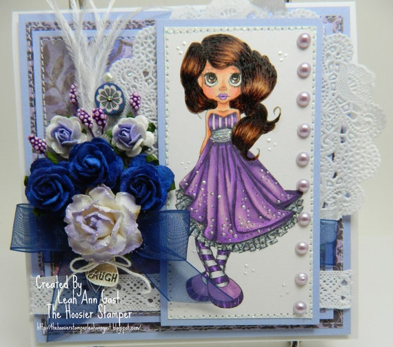 Saturated Canarys Navaeh in Purple and Navy Laugh OOAK Card