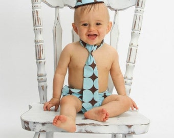 Baby boy / Toddler Cake Smash Birthday Outfit with a party hat necktie diaper cover in aqua chocolate dots