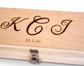 Personalized Wedding Wine Box -- Love Letter Ceremony eitth three monograms you choose the hardware