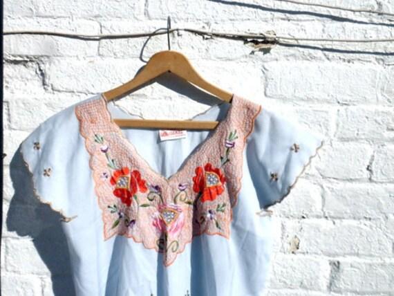 LIGHT BLUE floral Mexican market dress 1980s
