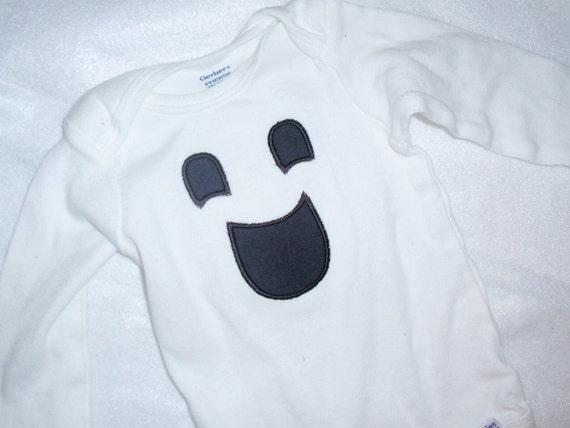 Ghost Face Halloween Applique Onesie
