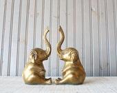 Brass Elephant Bookends // Solid Brass