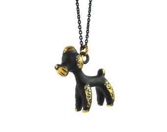 "Poodle Pendant - Large - Walter Bosse ""Black Gold"" Bronze Dog Necklace - 26"" Chain"