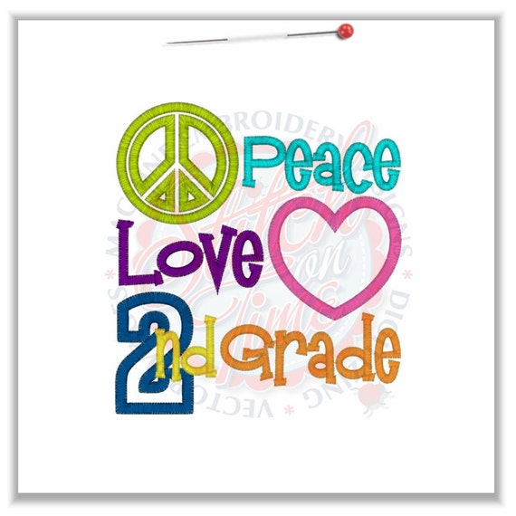 Peace, Love, 2nd Grade Tee Embroidered