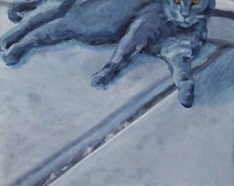 Original Cat Portrait - Blue