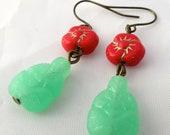 Buddha Blossom Earrings Red/Green