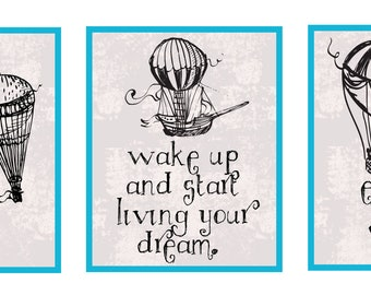 Hot Air Hopes 8x10 print set whimsical hot-air balloon baby/child/nursery print set
