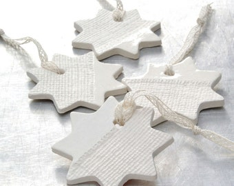 Ceramic Ornaments with Burlap  Impression Christmas Holiday Decoration White Star - Set of 4