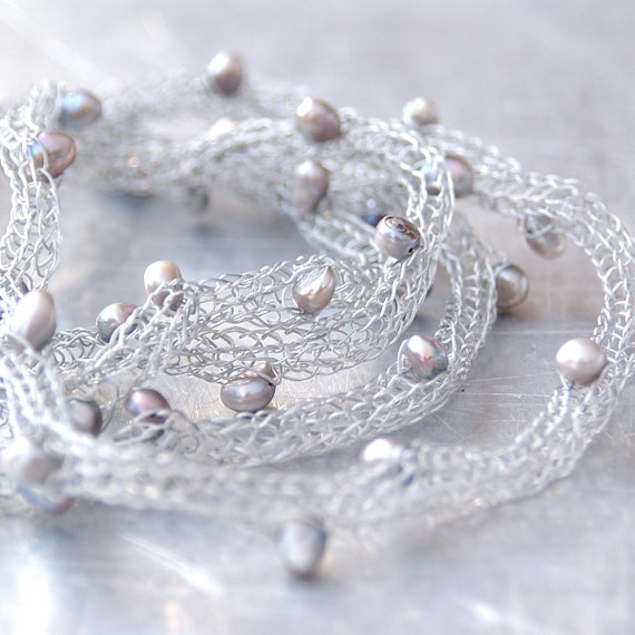 Freshwater Pearls Wire Necklace - Hand-knitted from Stainless Steel Wire with Silver Freshwater Pearl Accents - Bridal - Women's Gift