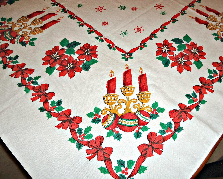 Vintage Christmas Tablecloth Table Cloth