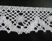 Vintage White Crochet Ribbon Trim Cluny Lace - 2 yards