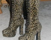 comfy heels .Nirvana GRUNGE Leopard Go Go Boots. BOHO Chunky Heels.Combat Boots Knee High Length. Gothic .dress up or jeans.Holiday Fashions