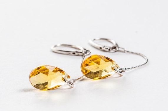 SUMMER SALE - Extra Long Dangle Yellow Earrings Beadwork Swarovski Crystal Chain Summer Earrings