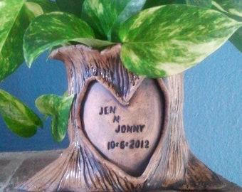 Personalized Tree Stump Planter