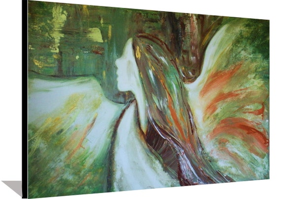 Abstract Angel Painting Spiritual Modern Art Painting Brown and Green Painting on Stretched Canvas Original Metallic Painting By Heather DA