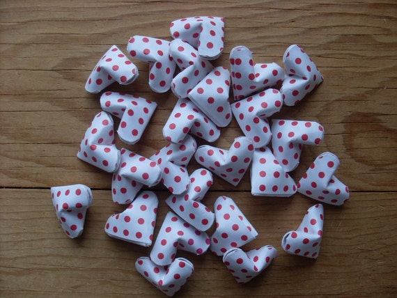Red Polka Dot Origami Hearts, set of 24. Valentines Day.