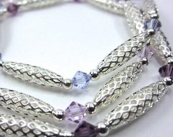 Swarovski Crystal Bracelets in Purple (Amethyst, Light Amethyst, Tanzanite), Silver Stretch Bracelets, Set of Three, Beach Bracelet