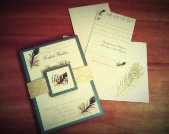 Metallic Peacock Wedding Invitations