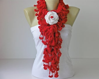 Mulberry scarf  /Pompom scarf /cocoon scarf with removable  crochet brooch