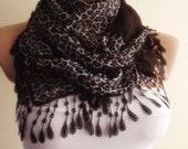 animal pattern cotton scarf with lace new design shawl neckwarmer cowl christmas gift for her chocolate dark brown