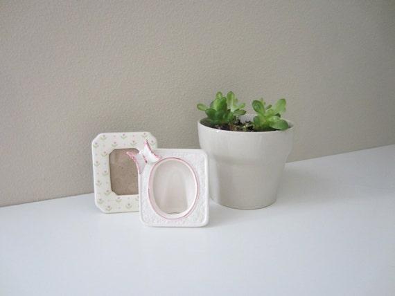 vintage set of porcelain miniature frames girly pink and white frames