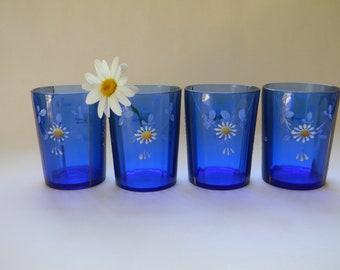 GLASSES, 4 Blue Enameled Handpainted Glasses