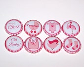"Baby Shower Girl Pink 1 Inch Pin Back Buttons 1"" Pins or Magnets"