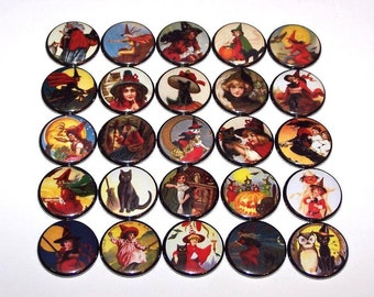 "Vintage Halloween Witches and Black Cats 1 Inch Pin Back Buttons 1"" Pins"