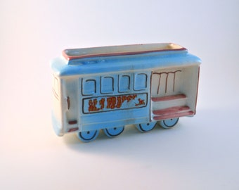 Cable Car Antique Trolly Car Street Car Ceramic  San Francisco sold as a Souvenir Blue