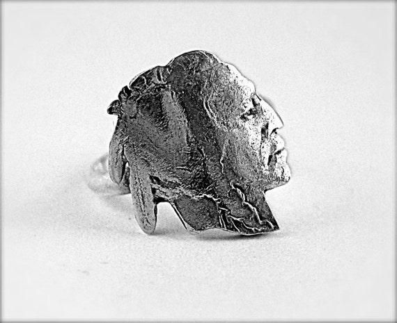 Buffalo Nickel Indian Ring Sterling Silver