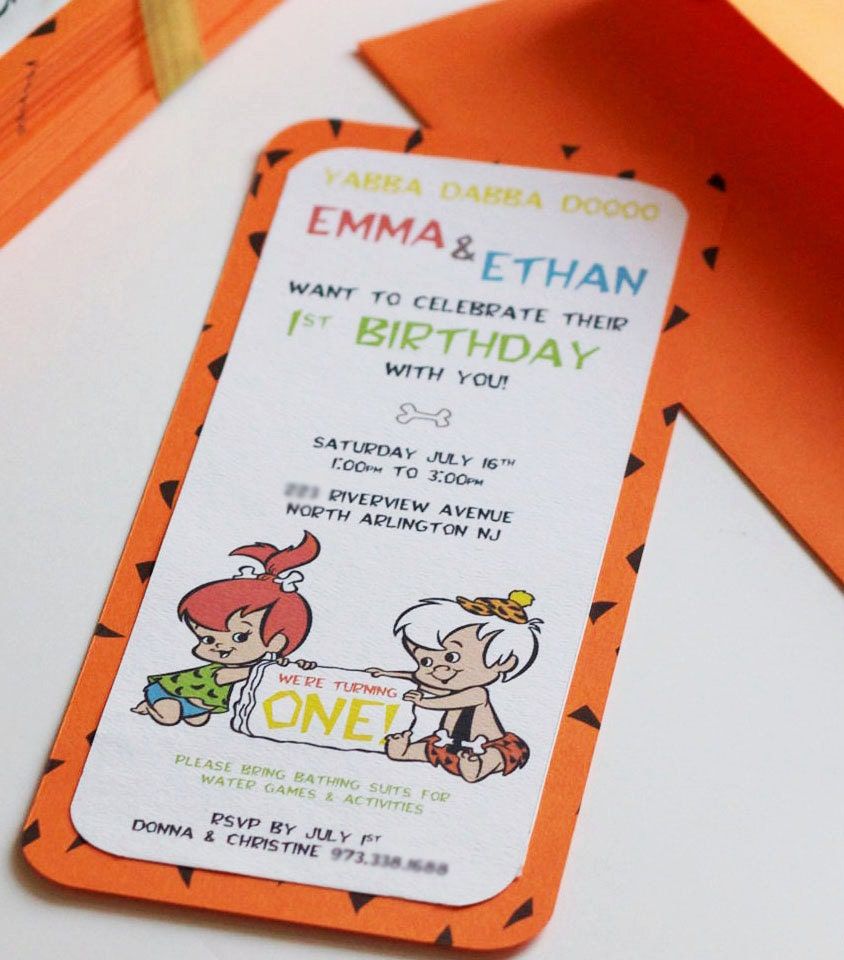 il_fullxfull.391414428_du88 pebbles & bambam layered invitation,Flintstones Birthday Invitations
