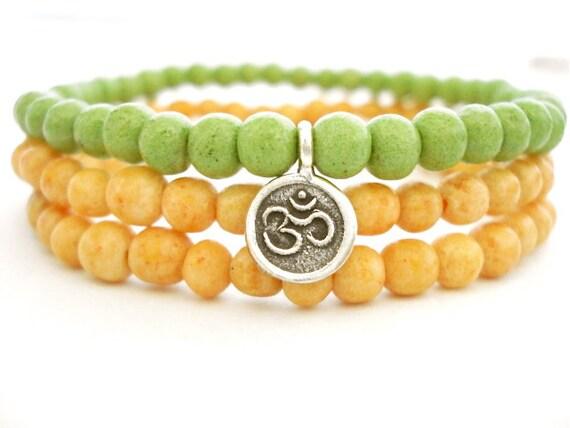 Ohm Yoga Bracelets, Green Pastel Limestone With Hill Tribe Silver Ohm Charm, Beaded Bracelet Set