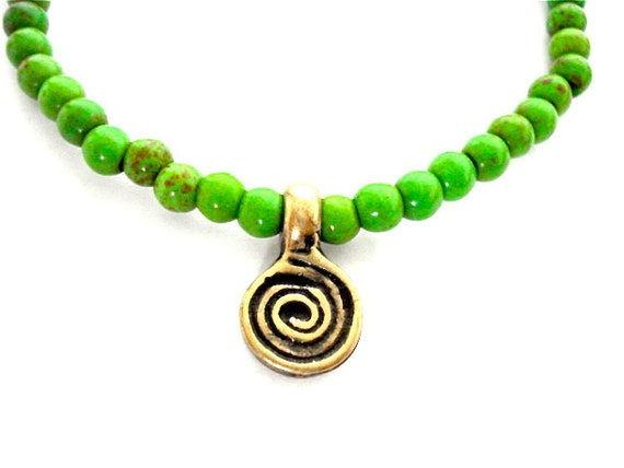 Brass Spiral Yoga Bracelet, Green Turquoise Howlite, Brass Spiral Charm Bracelet