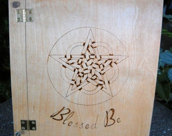 Woven pentacle wood burned Book of Shadows