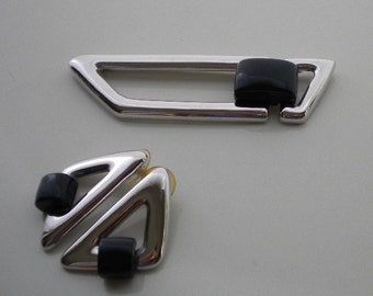 Vintage Geometric Silver Brooch and Earrings 1970s Monet Silvertone and Navy Blue