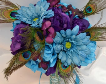 """17 Piece Package Wedding Bridal Bride Maid Of Honor Bridesmaid Bouquet Corsage Silk Flower PURPLE Peacock TURQUOISE MALIBU """"Lily of Angeles"""""""