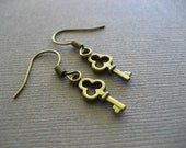 Antique Bronze Tiny Key Earrings. Free Gift. Free Earrings with Purchase.