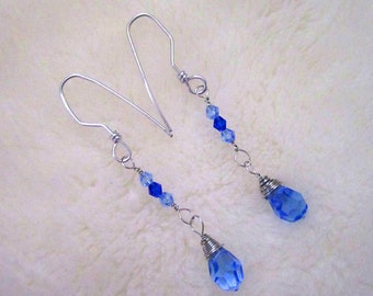 BLUE-tiful Crystals & Silver Wire Dangle Earrings - Royal, Sky, Cobalt