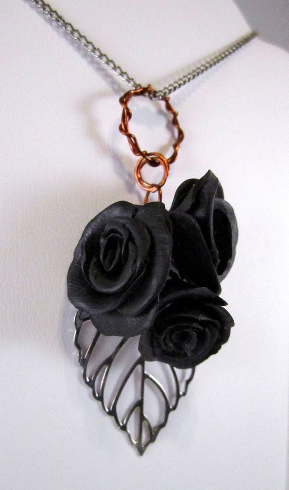 Black Polymer Clay Roses and Silver Plated Filigree Leaf Pendant