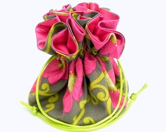 Drawstring Jewelry Bag Pouch - Jewelry organizer - Magenta pink, grey and lime green floral travel bag