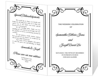 Wedding Program Template Printable - INSTANT DOWNLOAD - Calligraphy Flourish