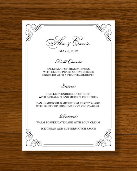 Instant download wedding menu template forever design by 43lucy for Free download menu templates