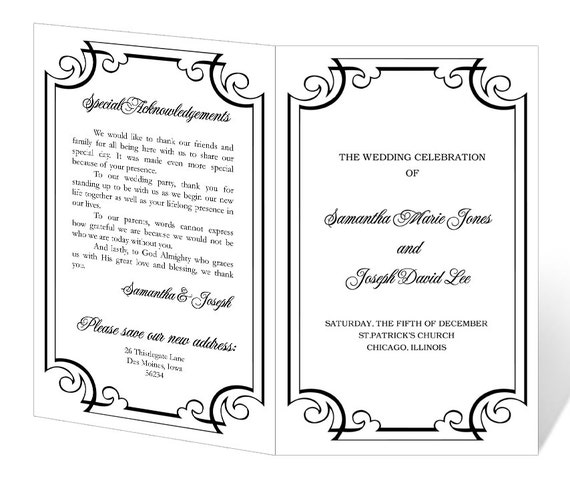 Wedding Invitation Templates Word 2007: Wedding Program Template Printable INSTANT DOWNLOAD